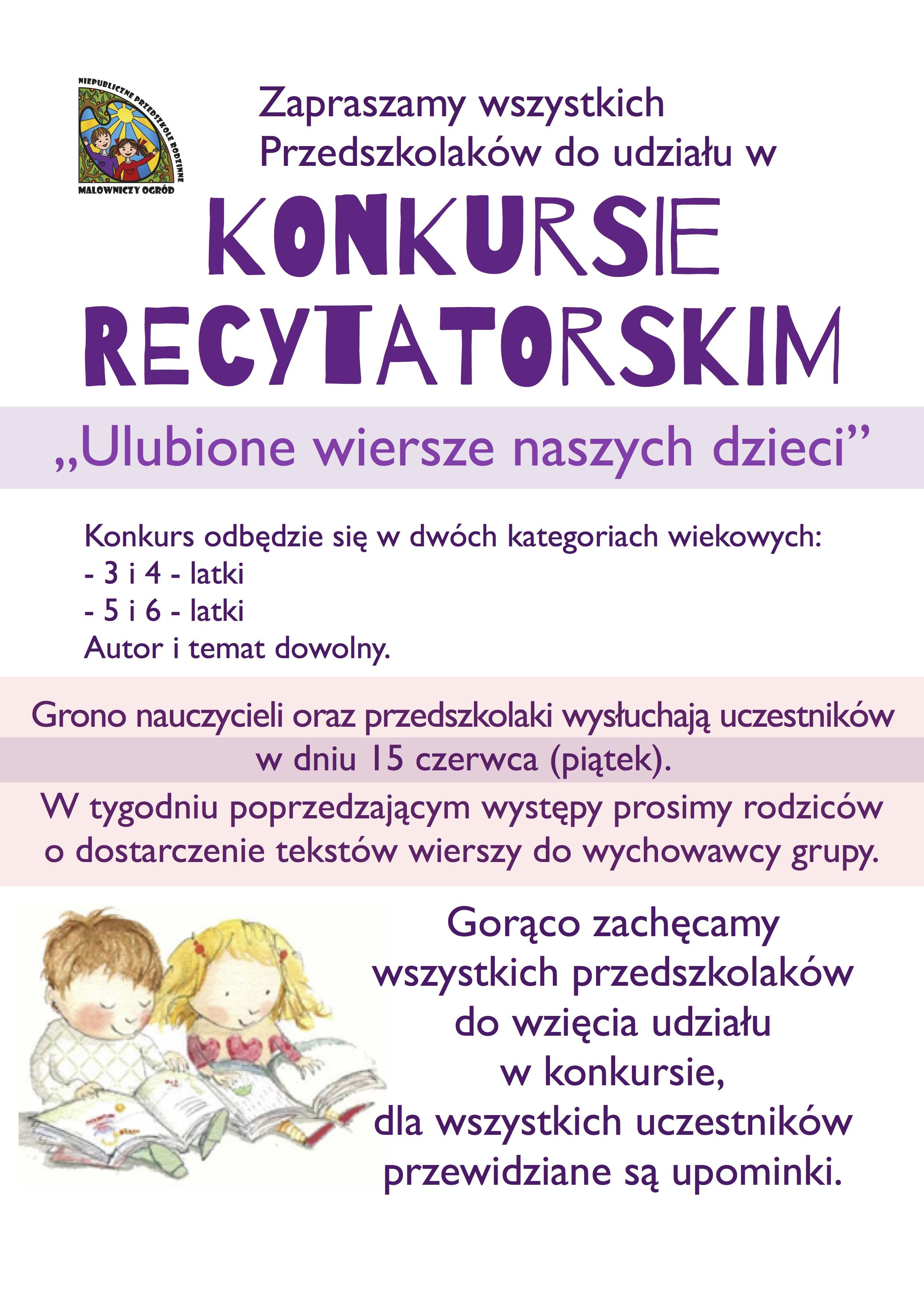 Konkurs Recytatorski Pt Ulubione Wiersze Naszych Dzieci